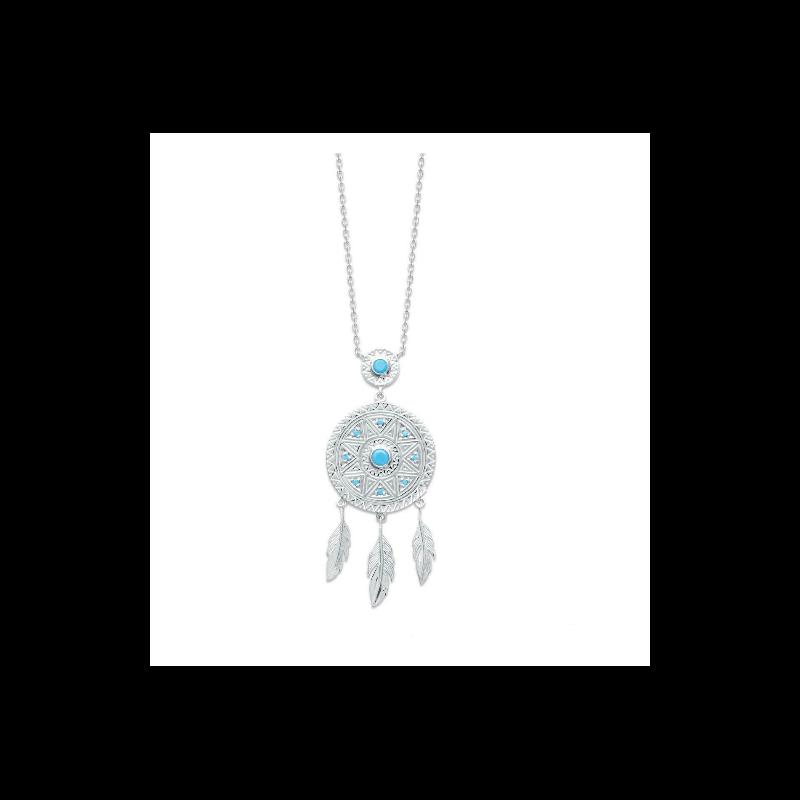 Collier chaîne de cou Type Attrape Rêve  Argent Massif 925/000 Bijoux Femme