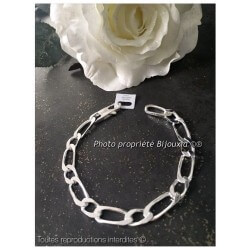 Bracelet Large Figaro 23cm x 9MM Argent Massif 925/1000 Poinçonné  Bijoux Homme