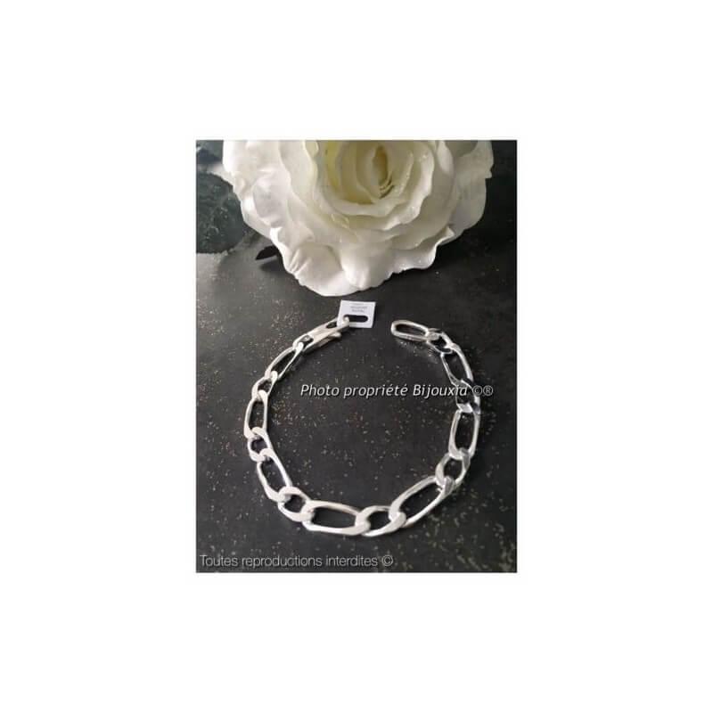 Bracelet Large Figaro 21cm x 9MM Argent Massif 925/1000 Poinçonné  Bijoux Homme