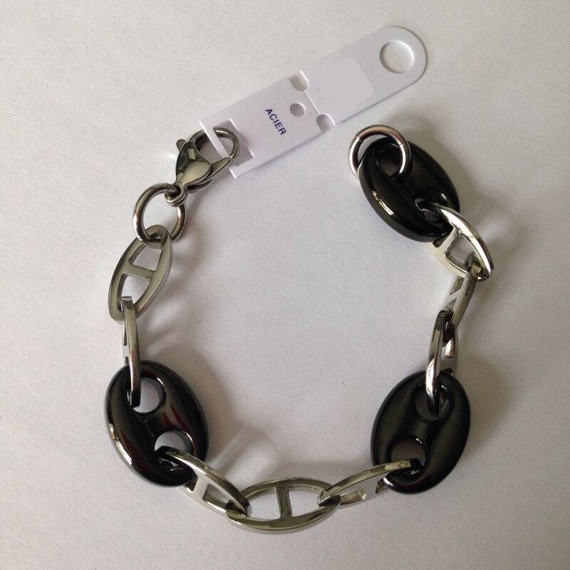 Bracelet Gros Grain De Café -  Noir Et Acier Inoxydable-316L -  Bijoux