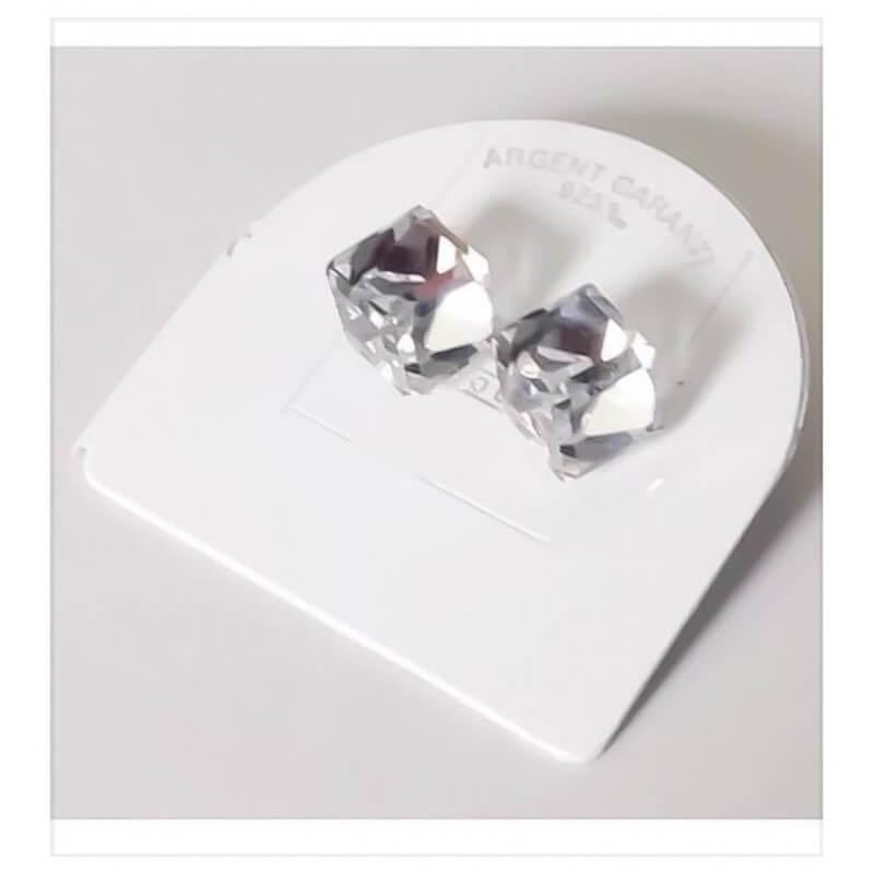Boucles D'oreilles  Cube Cristal Zirconium Argent Massif 925/000 Bijoux Femme