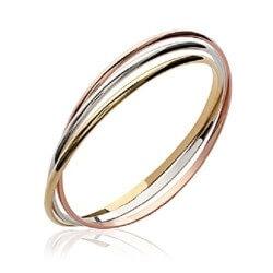 Bracelet Triple joncs 3 Ors Plaqué Or 18 carats-750/1000 6,6 cm Bijoux Femme