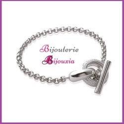 Bracelet Jaseron Moderne  Argent Massif 925/1000 Rhodié Zirconium Bijoux Femme