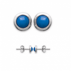 Boucles D'oreilles  Puces Pierres Bleu Argent Massif 925/1000 Bijoux