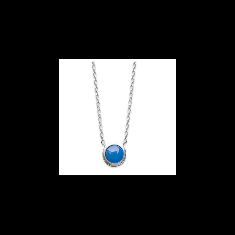 Collier solitaire Pierre Bleu Foncé Argent Massif 925/1000 Rhodié Bijoux femme