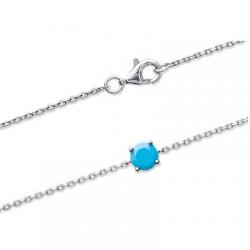 Bracelet solitaire Pierre Turquoise Argent Massif 925/1000 Rhodié Bijoux femme
