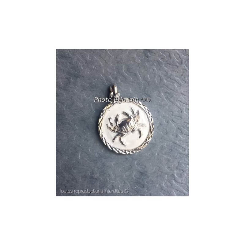 Pendentif Médaille Signe Zodiaque CANCER Argent Massif 925/1000 Bijoux NEUF