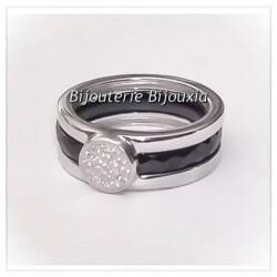 Bague Céramique NoireT54 Cristaux De Zirconium Et Argent Massif 925 Bijoux Femme