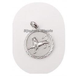 Pendentif Médaille Signe Zodiaque LION Argent Massif 925/1000 Bijoux NEUF