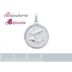 Pendentif Médaille Signe Zodiaque POISSON Argent Massif 925/1000 Bijoux NEUF