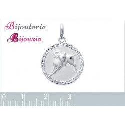 Pendentif Médaille Signe Zodiaque BELIER Argent Massif 925/1000 Bijoux NEUF