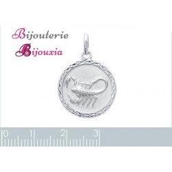 Pendentif Médaille Signe Zodiaque SCORPION Argent Massif 925/1000 Bijoux NEUF