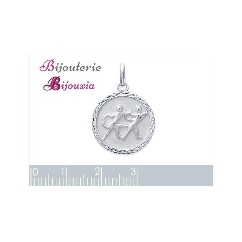 Pendentif Médaille Signe Zodiaque Gémeaux Argent Massif 925/1000 Bijoux NEUF