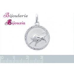 Pendentif Médaille Signe Zodiaque Taureau Argent Massif 925/1000 Bijoux NEUF