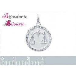 Pendentif Médaille Signe Zodiaque BALANCE Argent Massif 925/1000 Bijoux NEUF