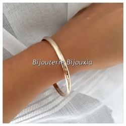 Bracelet Jonc Epais 5MM Plaqué Or 18 Carats-garanti 10ans 3 Microns Bijoux Femme