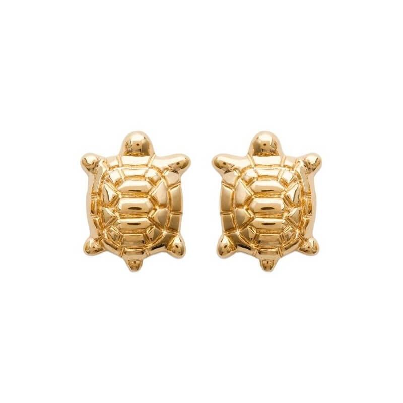 Boucles D'oreilles puces TORTUES Plaqué or 18 CARATS 750 Millièmes Bijoux NEUF