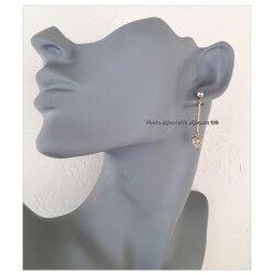 Boucles D'oreilles pendantes solitaire Zirconium  Plaqué Or Garanti Bijoux Femme