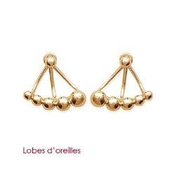 Boucles D'oreilles Modernes  Boules Plaqué Or 18 Carats garanti 10 Ans Bijoux