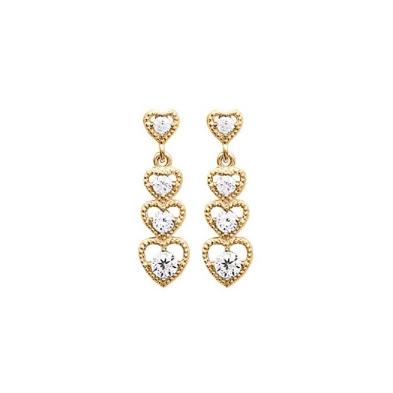 Boucles D'oreilles 4 Cœurs Zirconium Plaqué Or 18 Carats Garanti 10 Ans Bijoux