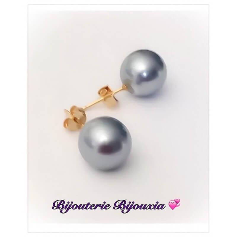 Boucles D'oreilles Perles grises Plaqué Or 18 carats Garanti 10 Ans Bijoux Femme