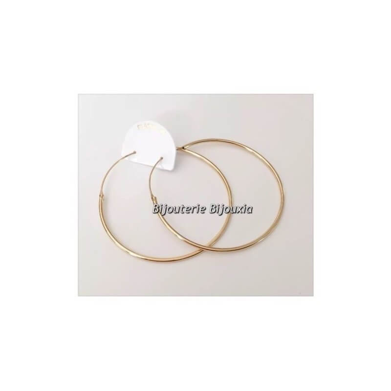 Boucles D'oreilles Créoles Fines 6cm Plaqué or 18 Carats 750/1000 - Bijoux Femme