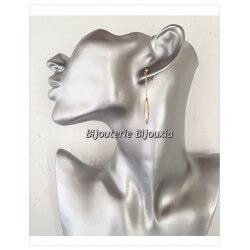 Boucles D'oreilles pendantes  Plaqué Or 18Carats Garanti 10 ans Bijoux Femme