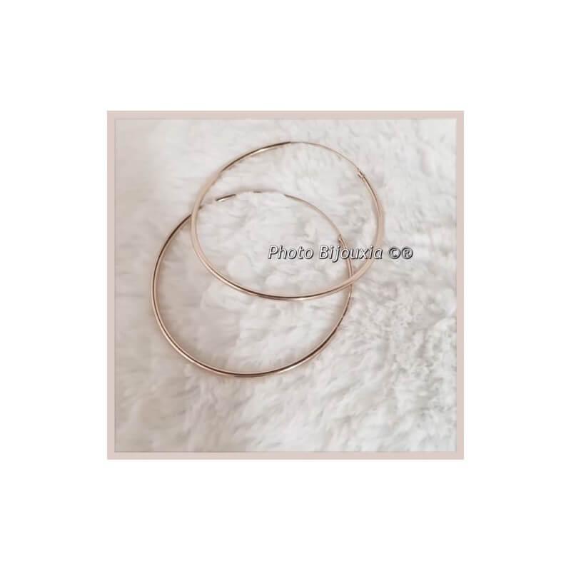 Boucles D'oreilles Grandes Créoles 8 cm - Plaqué or 18 Carats 750/1000 - Bijoux