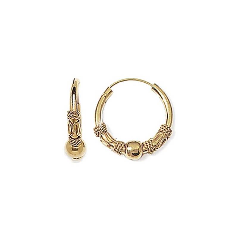 Boucles D'oreilles Créoles Tribal Plaqué Or 18CARATS 3 Microns Bijoux Femme