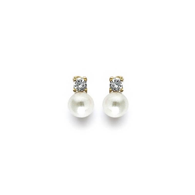 Boucles D'oreilles Perle et Cristal Plaqué Or 18 Carats Garanti 10 Ans Bijoux