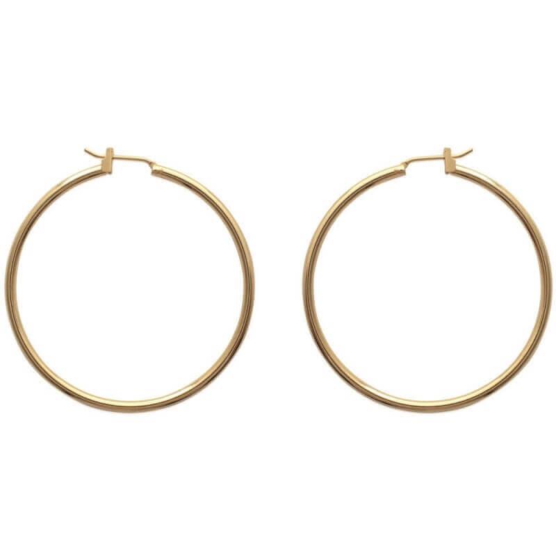 Boucles D'oreilles Créoles 4cm Plaqué Or 18 CARATS Garanti 10 ANS Bijoux Femme