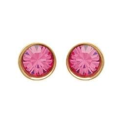 Boucles D'oreilles cristal rose Plaqué Or 18 carats Garanti 10 Ans  Bijoux Femme