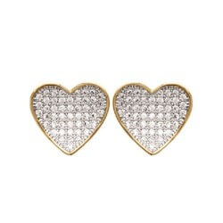 Boucles D'oreilles Microserti Zirconium coeur  Plaqué or 18Carats Bijoux Femme