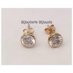 Boucles D'oreilles  Puces Zirconium  Plaqué Or 18carats Garanti 10 Ans Bijoux