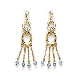 Boucles D'oreilles Cristal Aigue-marine Plaqué Or 18 Carats  Bijoux Femme