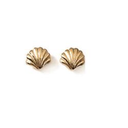 Boucles D'oreilles puces  coquillage Plaqué or 18 CARATS 750 Millièmes Bijoux
