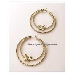 Boucles D'oreilles Créoles Papillons Plaqué Or 18 Carats Bijoux Femme