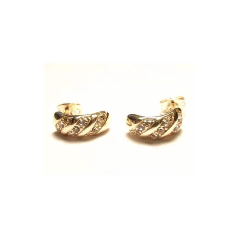 Boucles D'oreilles Puces Cz Zirconium -Plaqué Or 18k- Bijoux Femme