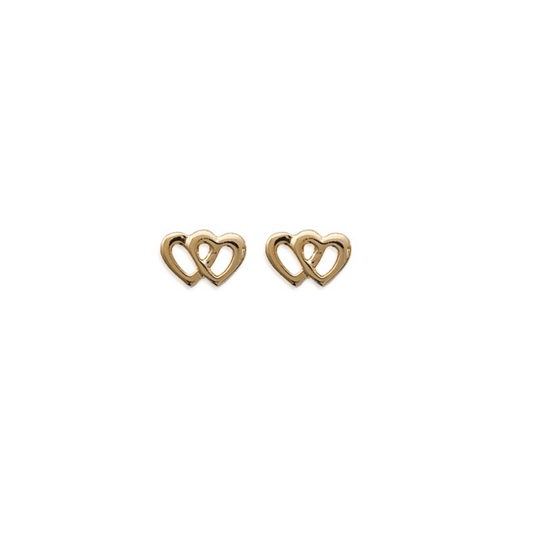 Boucles D'oreilles Cœurs entrelacés Plaqué or 18 CARATS 750 Millièmes Bijoux
