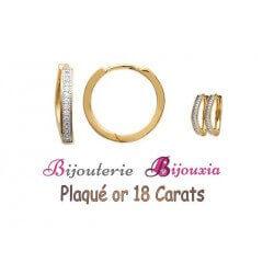Boucles D'oreilles Créoles Microserti Zirconium Plaqué or 18Carats Bijoux Femme