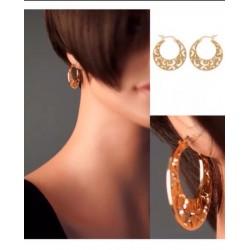 Boucles D'oreilles Créoles Ajourées  Plaqué Or 18Carats 3 Microns Bijoux Femme