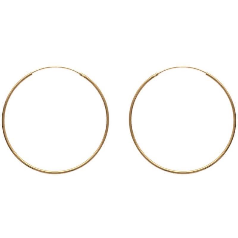 Boucles D'oreilles Créoles Fines 5cm Plaqué or 18 Carats 750/1000  Bijoux Femme