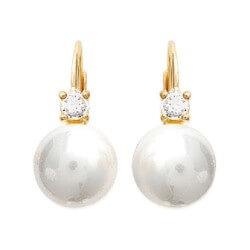 Boucles D'oreilles Perles Zirconium Plaqué Or18 CARATS Garanti 10 Ans Bijoux