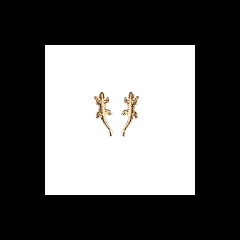 Boucles D'oreilles Puces Salamandres Plaqué or 18 CARATS 750 Millièmes Bijoux