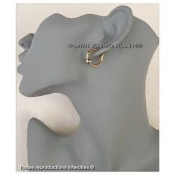Boucles D'oreilles Créoles Boule  Plaqué Or 18 CARATS 3 Microns Bijoux Femme
