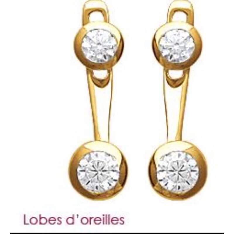 Boucles D'oreilles Lobes ZIRCONIA Plaqué Or 18 Carats 3microns Bijoux Femme