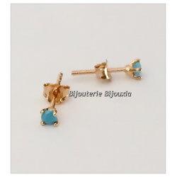 Boucles D'oreilles Puces Turquoise  Plaqué Or 18 Carats Garanti 10 Ans Bijoux