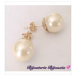 Boucles D'oreilles Perle De Majorque 10 MM Plaqué Or 18 Carats Garanti 10 Ans