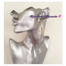 Boucles D'oreilles Créoles Ovales Plaqué Or 18Carats 3 Microns Bijoux Femme