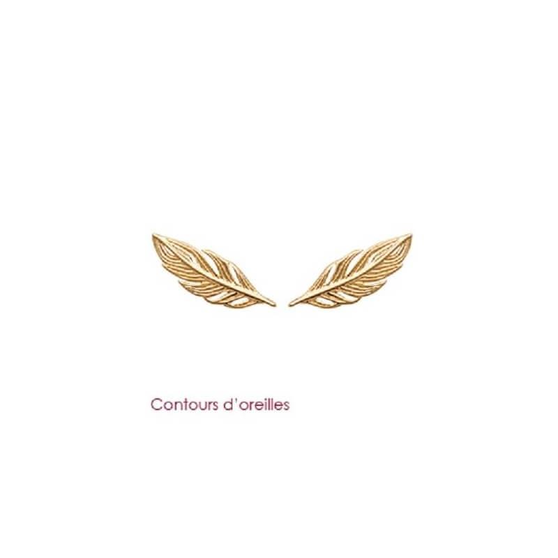 Boucles d'oreilles PLUMES Plaqué Or 18 Carats  Garanti 10 ans  Bijoux Femme